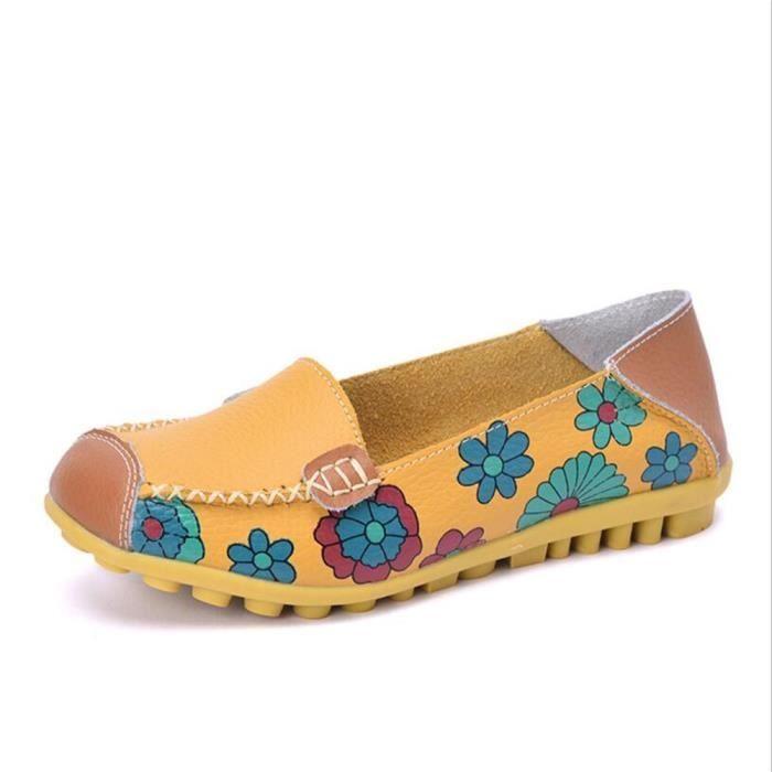 Mocassins Femmes Printemps ete Cuir Chaussures DTG-XZ056Orange44 w9p8m