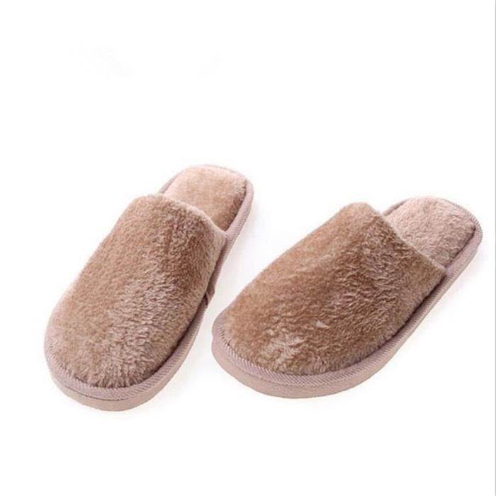 Chausson Homme Simple Garde Au Chaud Hiver Chaussons Plus De Cachemire Couleur Unie Confortable Coton Chaussure Haut qualité 40-45 uKEyFrbC