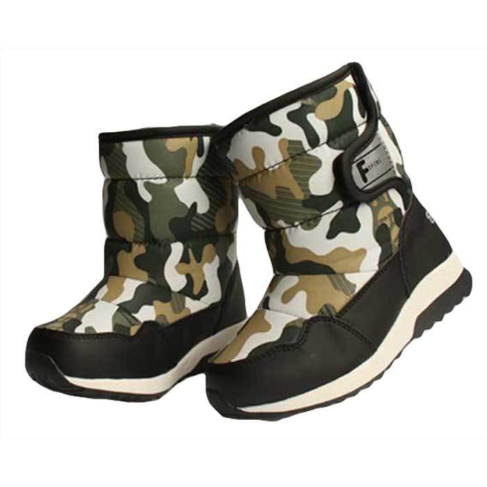 GIFT TOWER Bottine Garçon Enfant Boots de Neige FourréesHiver Camouflage Antidérapant Noir
