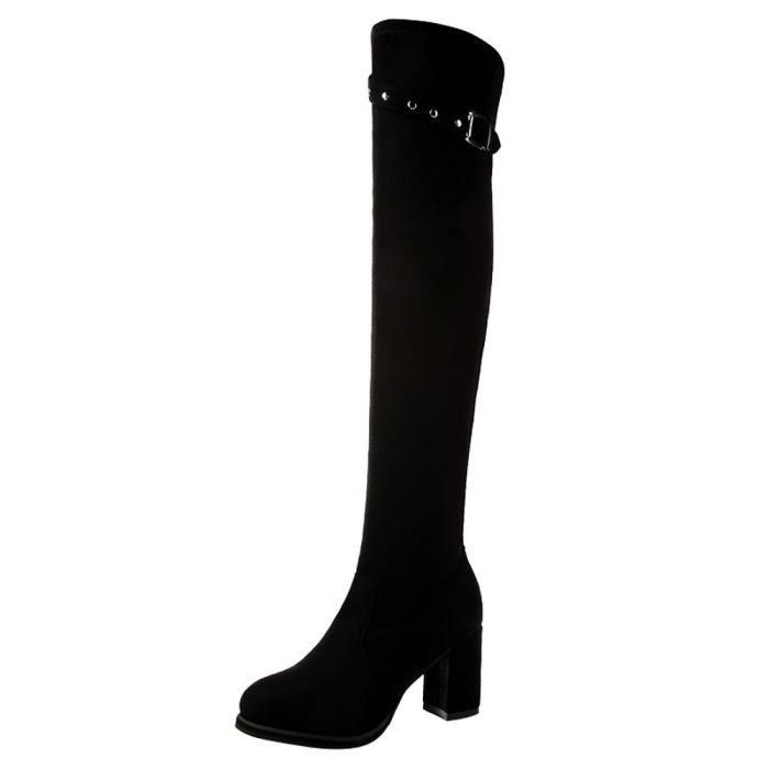 Boot Strap du hauts rond Suede Bottes Boucle hautes dessus de genou Noir bout talons Femmes dCrBtxhsQ