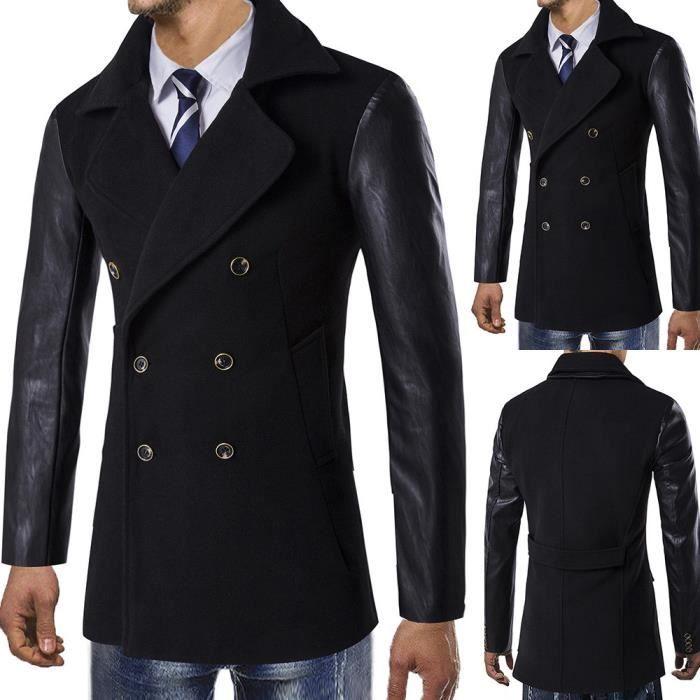 Button Chaude Outwear Long Smart D'hiver Pardessus Veste Noir Trench xBUYwHzxq