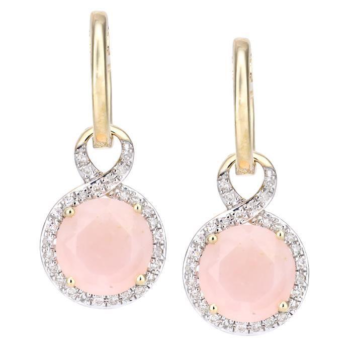 Revoni - Boucles d'oreilles pendantes en or jaune 9 carats et diamants opales roses