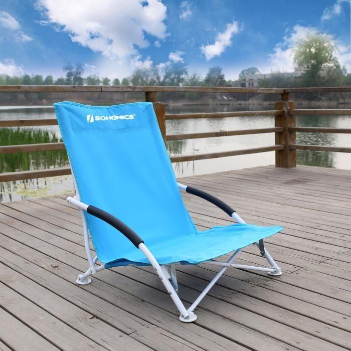 SongmicsR Chaise De Camping Pliable Pliante Plage 61 X 535 65 Cm Charge 140 Kg GCB61S