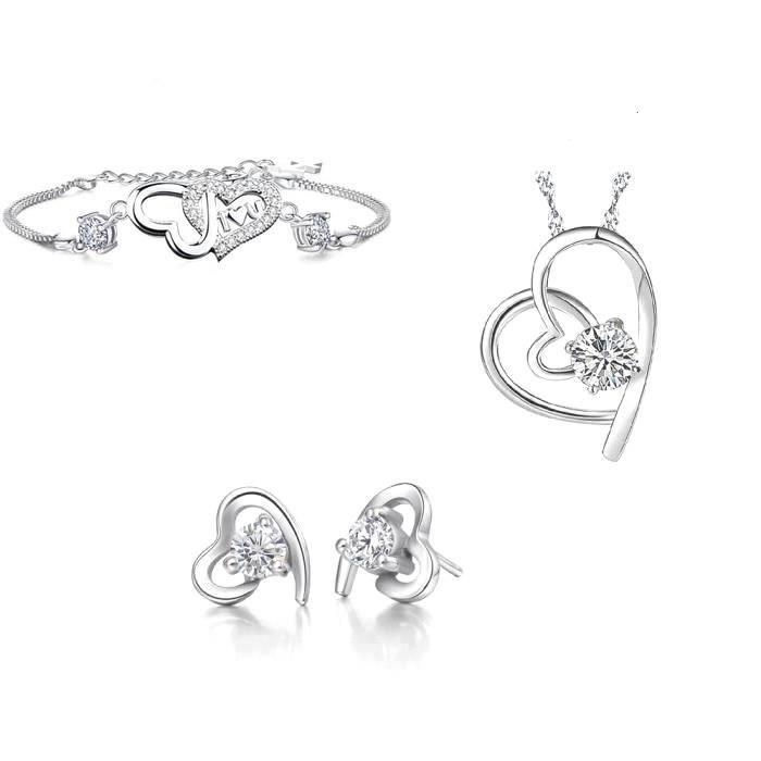 Parure Bijoux Coeur Love Swarovski Elements avec Bracelet Argent 925