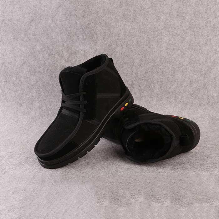Bottes Martin noires veloutées de longueur courte pour Homme