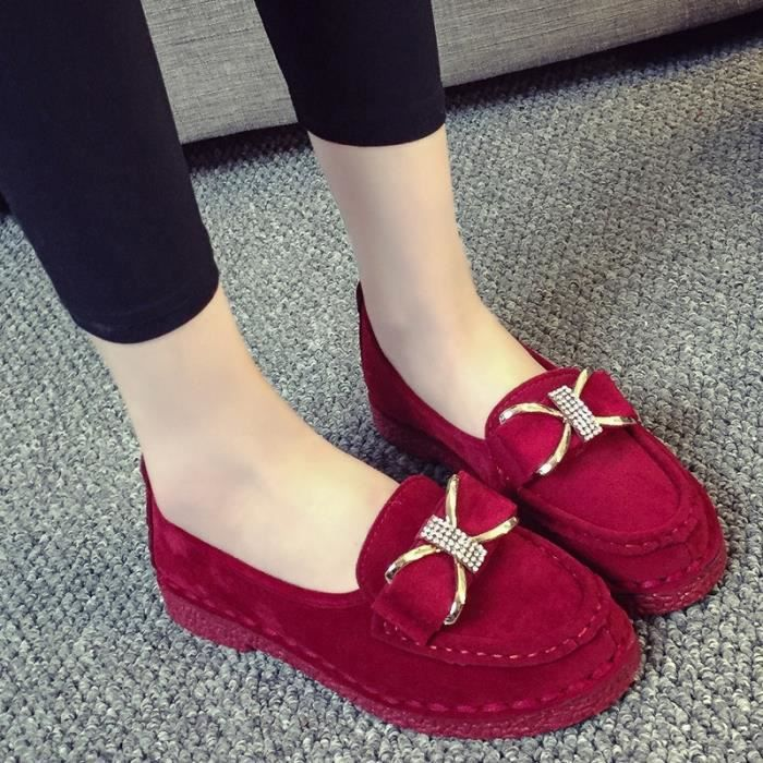 chaussures multisport Mixte Mesdames Beauté Slip-on Casual Mocassins rouge taille6.5 CSw2jRF