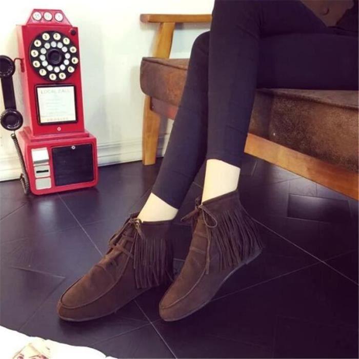 Bottine Femme Gland Rétro Confortable Super Botte Haut qualité Beau Chaussure Nouvelle Mode Plus De Couleur Confortable 36-40 NUq5WCi