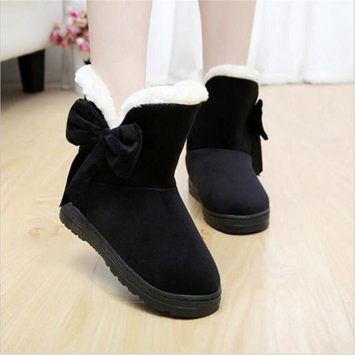 Bottine Femme Hiver Comfortable Peluche Classique Boots BLLT-XZ014Noir-37 GESwXNrH