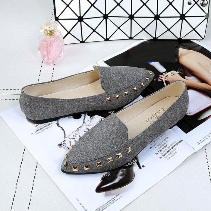 Casualgris Comfy Ladies Appartements Chaussures Bateau Soft Femme on Rivet Slip EzawaqF