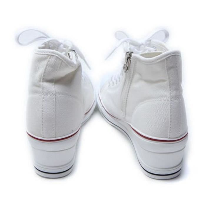Chaussures Baskets montantes à lacets Zip Fashion Sneakers Wedges Plate-forme B7VDO Taille-37