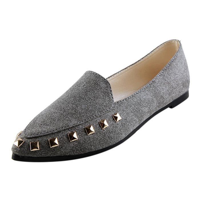 Soft Slip Rivet on Femme Appartements Comfy Chaussures Bateau Ladies Casualgris qwHnR7X