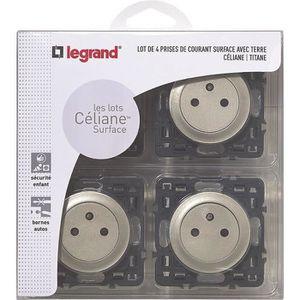 LEGRAND Celiane Lot 4 prises de courant avec terre affleurantes ? encastrer composable titane