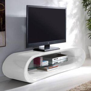 Meuble Tv Design Kaïna En Fibre De Verre Blanc Achat Vente