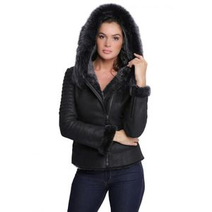 veste en cuir femme avec fourrure achat vente veste en. Black Bedroom Furniture Sets. Home Design Ideas