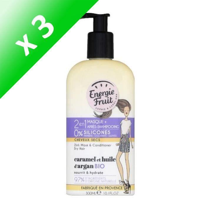 ENERGIE FRUIT Masque et après-shampoing pour cheveux secs - Caramel et Huile d'Argan - 300 ml (Lot de 3)