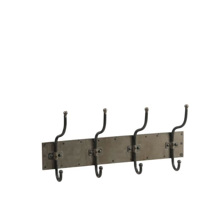 Porte manteau 4 crochets Métal 55x13x26 cm Argent