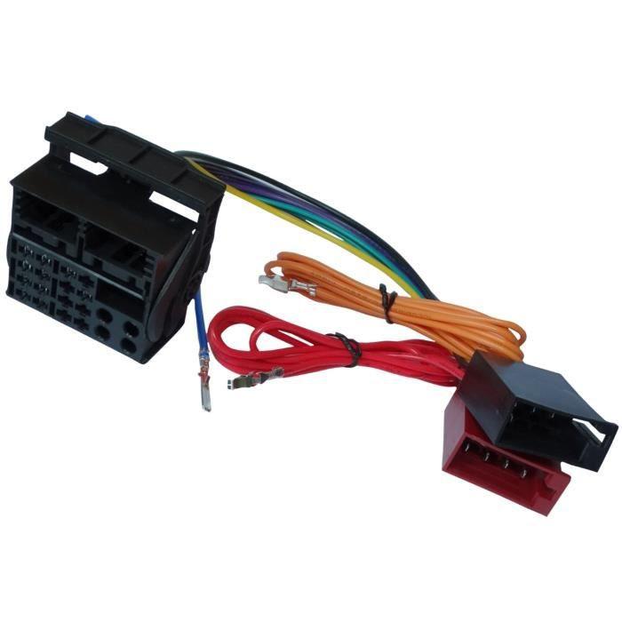 aerzetix adaptateur faisceau c ble fiche iso pour autoradio d 39 origine compatible avec audi seat. Black Bedroom Furniture Sets. Home Design Ideas