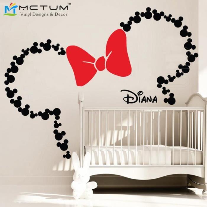 Mickey Inspire Oreilles Avec Arc Et Personnalise Nom De Bebe Minnie