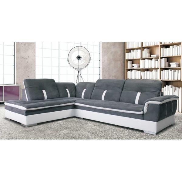 canap d 39 angle microfibre gris et blanc meuble house. Black Bedroom Furniture Sets. Home Design Ideas
