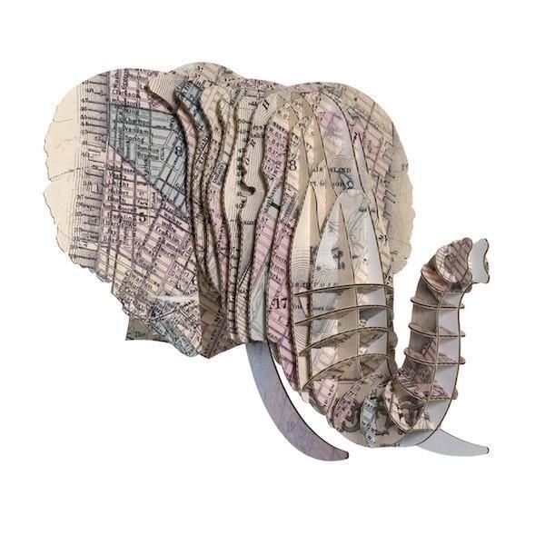 Bien connu Tête Eléphant en Carton Recyclé New York - Taille M - Achat  GZ67