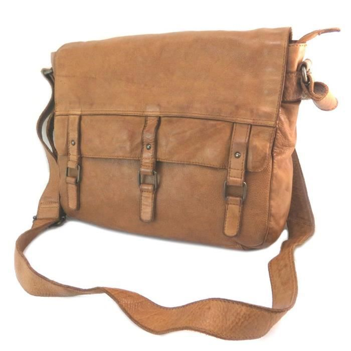 82f61c9488 BESACE - SAC REPORTER Sac cuir 'Gianni Conti' cognac vintage (special ta