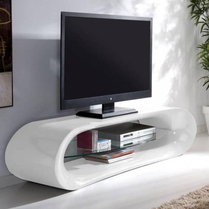 Meuble TV design KANA en fibre de verre blanc Achat Vente
