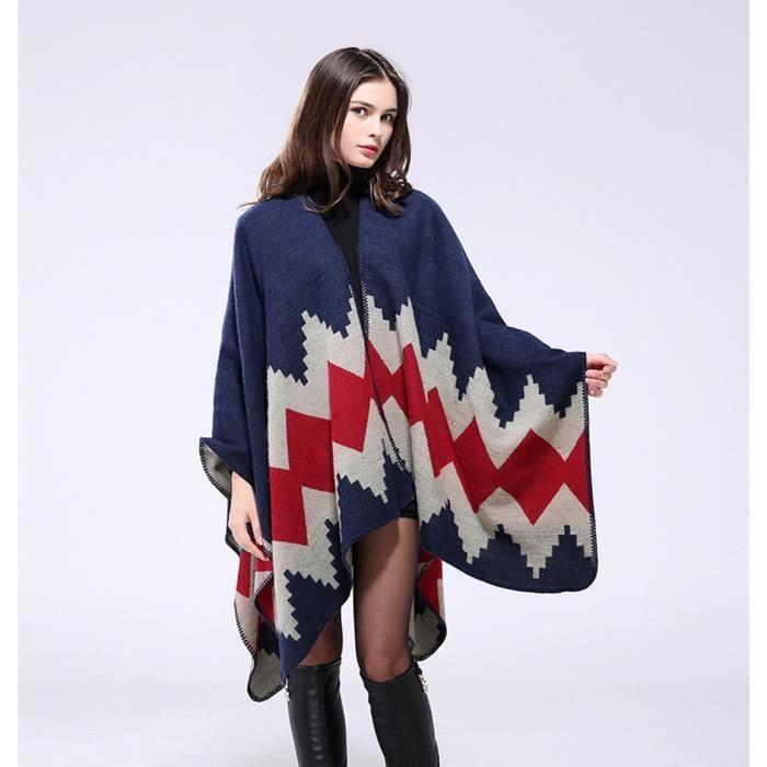 ddb3bbb4afe Châle-écharpe femme large automne hiver nouveauté bohême Européen desigual  130 150CM haute qulite tricot vintage-Rouge
