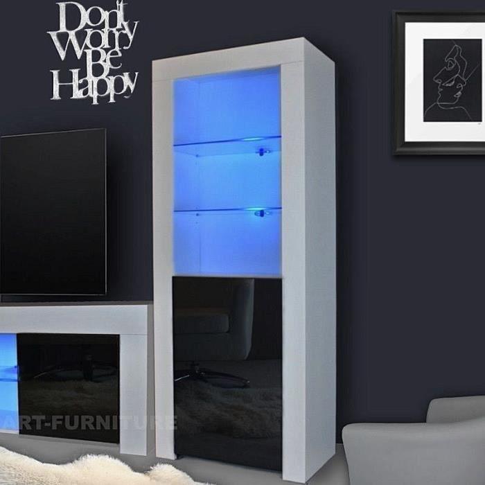 Buffet Moderne   Présentoir Placard Salon   à Haute Brillance Avec Lumières    Blanc Et Noir, 62x35x160 Cm