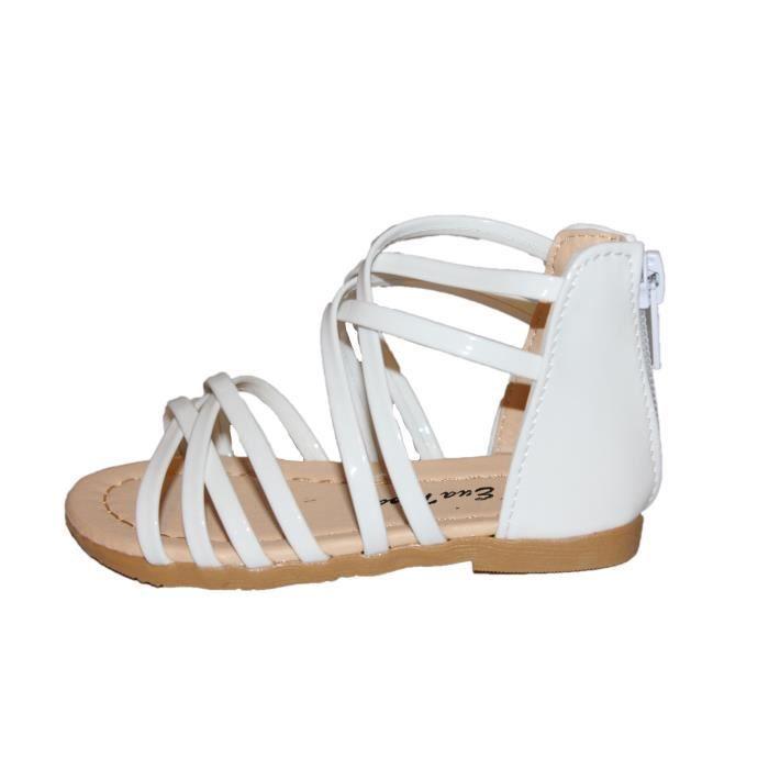 sp)artiates sandales fille blanche brillante