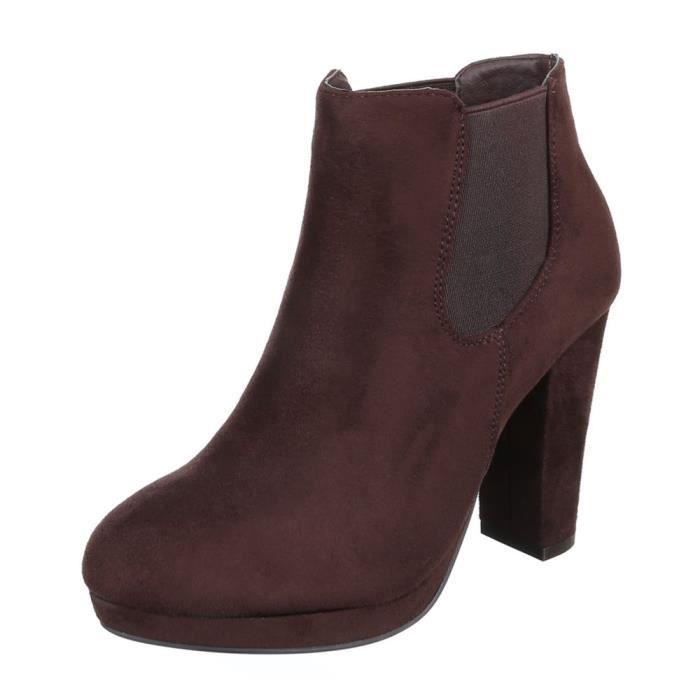 femme Boots bottine chaussure Stretch avec Plateau