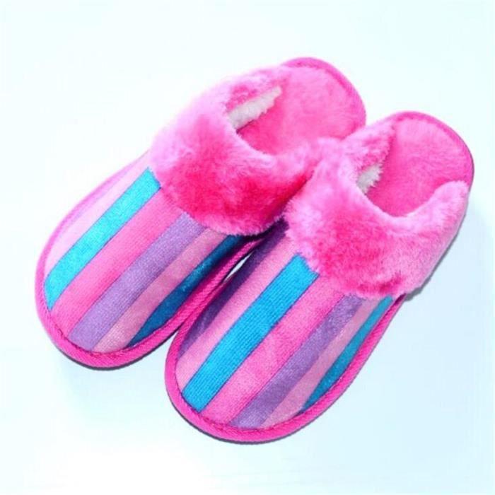 8b6d77f314015 Rainbow Chausson Antidérapant Confortable Coton Chaussons Hiver Nouvelle  meilleur Mode Simple Chaussure Femme Léger 35-40