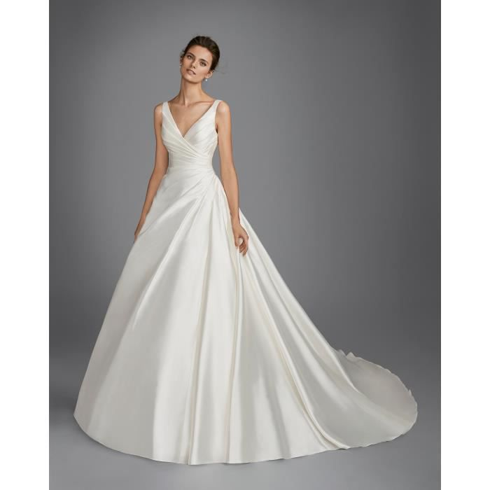2018 Robe De Mariée Mariage Princesse Femme Elegant Satin Sans Manches Dos Nu
