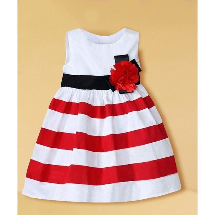 8cab705afea60 0-24 Mois Bébé Fille Robe à Raies Rouge Blanc Sans Manche Fleur Tenue Été