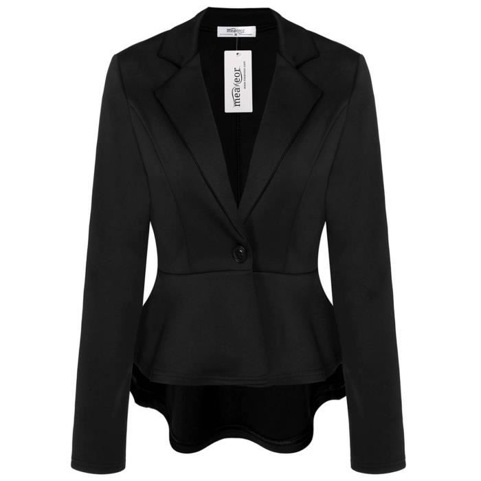36b8390ac827c Veste Blazer femme asymétrique Noir Noir Noir - Achat   Vente veste ...