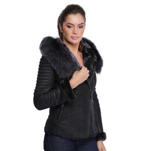 blouson noir cuir avec fourrure femme achat vente pas cher. Black Bedroom Furniture Sets. Home Design Ideas