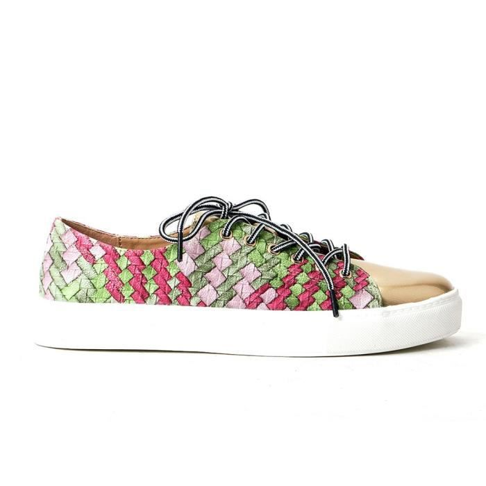 Comfy Woven Lace Up Loafers Shoes Mixed Color Footwear JYDM7 Taille-41