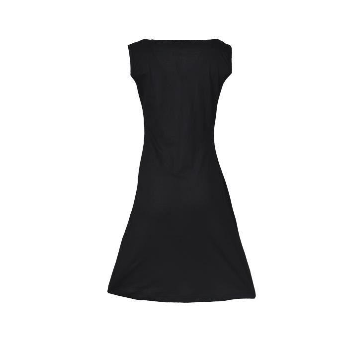 Femmes Robe sans manches dété noire avec imprimé à fleurs et broderie 2YN6BJ Taille-34