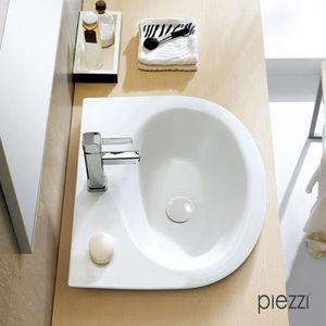 BONDE - CABOCHON Bonde pour vasque + cache rond en céramique blanch