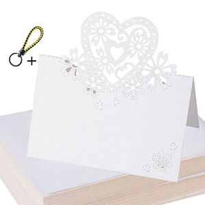 CHEMIN DE TABLE 100pcs Carte de Noms en Couer Blanc Nacré Carte Ta