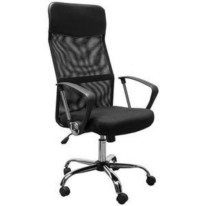 Chaise Bureau Pivotante Avec Accoudoirs Fauteuil Ordinateur Manager Noir 93