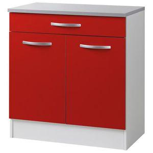 elements bas placard avec 2 portes et 1 tiroir coloris rouge 8