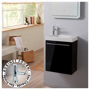 MEUBLE VASQUE - PLAN Pack Lave mains Noir + Mitigeur eau chaude/eau fro