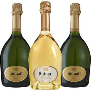 CHAMPAGNE Champagne - Lot de 3 bouteilles Champagne Ruinart