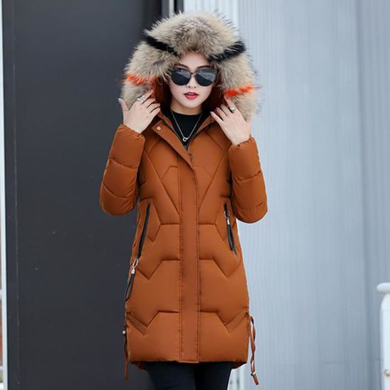 2019 Doudoune Hiver Fourrure Manteau Jacket Avec Veste Longue Femme