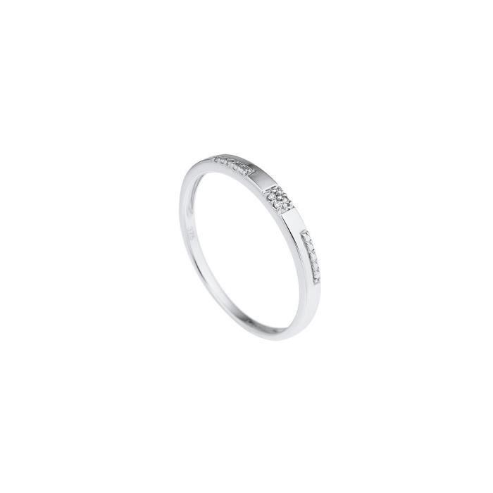 DIAMOND LANE Bague Demi Alliance Or Blanc 375° et Diamants Femme