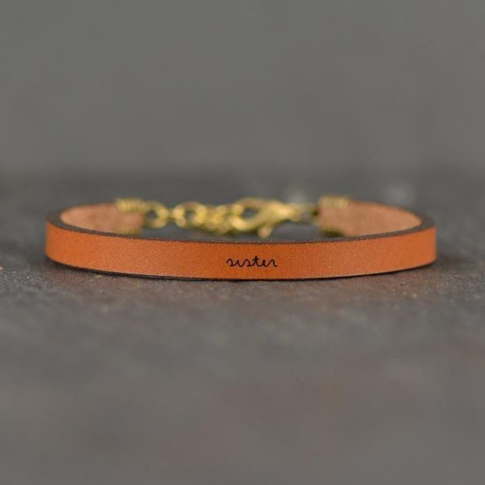 Sœur Brown Bracelet Citation en cuir pour femmes | Laurel Denise N8PHS
