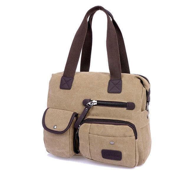 SBBKO2914Ekphero hommes femmes toile sac vintage épaule Sac Messenger Khaki