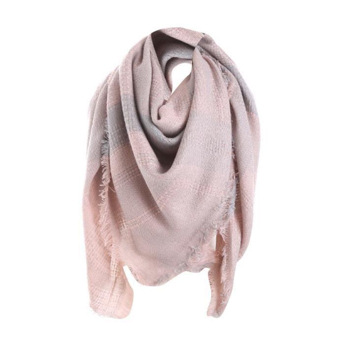 Femme plaid long Cashmere laine châle écharpe col plaid rose Z1728 ... 9b0203e119f
