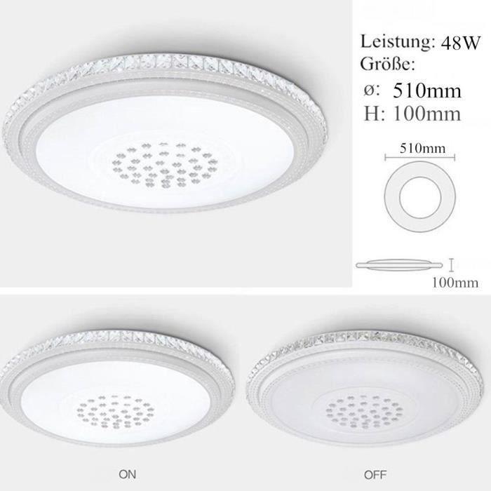 36W Plafonnier LED Intensité variable cristal Lampe murale Panneau lampe  chambre salon salle de bain plafonnier, dimmable LED