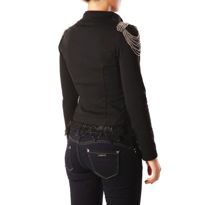 9483e93bc4e7 Blazer officier épaulettes perlées et franges noir Noir - Achat ...